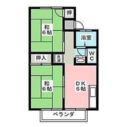 プレジール宮脇B[1階]の間取り