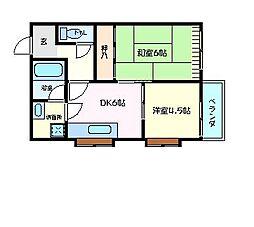 兵庫県明石市西新町3丁目の賃貸アパートの間取り