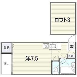 福岡県福岡市東区馬出3丁目の賃貸アパートの間取り