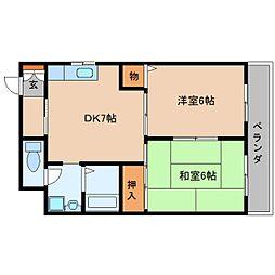 近鉄大阪線 桜井駅 徒歩6分の賃貸マンション 8階2DKの間取り
