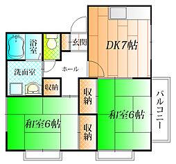 大阪府藤井寺市北條町の賃貸アパートの間取り