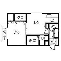 リビング元町[3階]の間取り