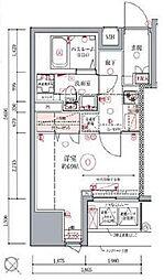 都営浅草線 東銀座駅 徒歩8分の賃貸マンション 5階1Kの間取り