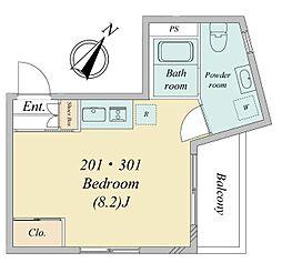 南田中1丁目・新築RCマンション 3階ワンルームの間取り