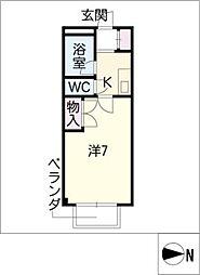 STUDIO岩田寮 H棟[1階]の間取り