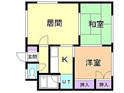 小室マンション 2 1階2LDKの間取り