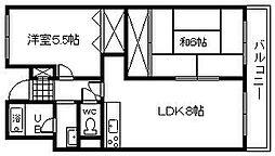 大阪府岸和田市八幡町1丁目の賃貸マンションの間取り