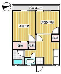 山口県下関市一の宮本町1丁目の賃貸アパートの間取り