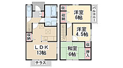 [テラスハウス] 兵庫県川西市小戸3丁目 の賃貸【兵庫県 / 川西市】の間取り