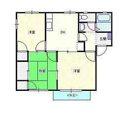 新潟県新発田市中央町5丁目の賃貸アパートの間取り