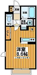 東京都渋谷区本町1丁目の賃貸アパートの間取り