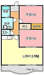 ロイヤルシティ金子[5階]の間取り