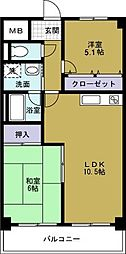 グランドヴィラ三先[6階]の間取り