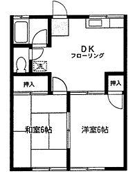 西村コーポ[1階]の間取り