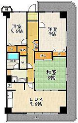 ネオコーポ大津湖城ケ丘A棟[8階]の間取り