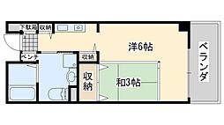 サンライフ尾崎 4階1Kの間取り