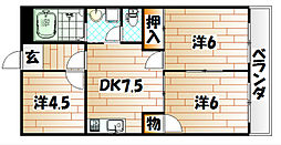 シャトレ片野II[2階]の間取り