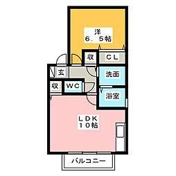 愛知県一宮市大和町妙興寺字伊勢田の賃貸アパートの間取り