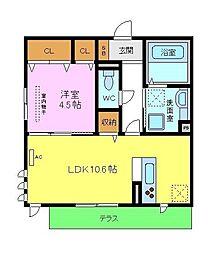 仮称D-room北区百舌鳥本町 1階1LDKの間取り