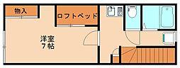 福岡県飯塚市新飯塚の賃貸アパートの間取り