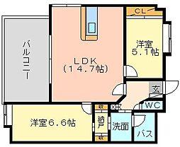 福岡県北九州市小倉南区徳力新町1丁目の賃貸マンションの間取り