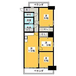 ホワイトキャッスル東ヶ丘 605[6階]の間取り
