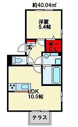 福岡県北九州市八幡西区藤田2丁目の賃貸アパートの間取り