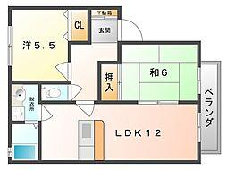 大阪府四條畷市岡山東3丁目の賃貸アパートの間取り