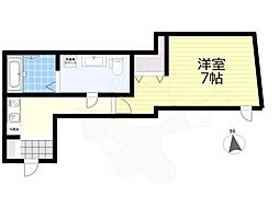 東急世田谷線 西太子堂駅 徒歩10分の賃貸マンション 2階1Kの間取り