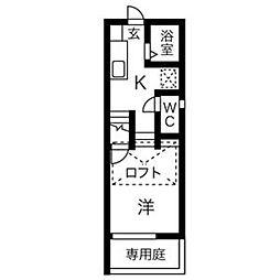隠れ家(KAKUREGA)[1C号室]の間取り