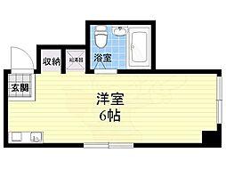昭和グランドハイツ西三国 2階ワンルームの間取り