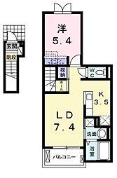 JR高徳線 勝瑞駅 3.1kmの賃貸アパート 2階1LDKの間取り