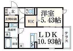 阪急神戸本線 六甲駅 徒歩8分の賃貸アパート 2階1LDKの間取り