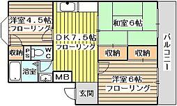 菅原第1ダイヤモンドハイム[305号室]の間取り