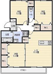大阪府八尾市高安町南3丁目の賃貸アパートの間取り