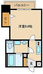 阪神本線 出屋敷駅 徒歩8分の賃貸マンション 9階1Kの間取り