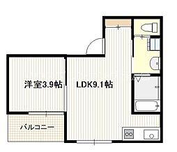 広島電鉄宮島線 草津南駅 徒歩2分の賃貸アパート 2階1LDKの間取り