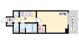 エスリード神戸ハーバーテラス 11階1Kの間取り