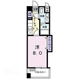 エトワール ポレールIII号館 3階1Kの間取り
