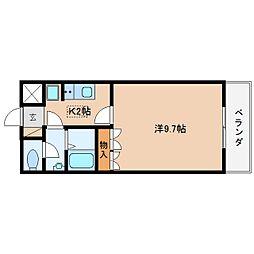 近鉄大阪線 大福駅 徒歩10分の賃貸マンション 2階1Kの間取り