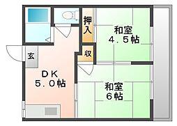 コーポラスワタナベ[1階]の間取り