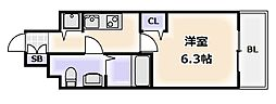 大阪府大阪市浪速区敷津東2丁目の賃貸マンションの間取り