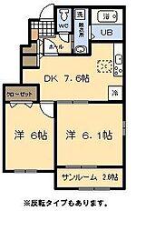 (新築)スカイスター南宮B[1階]の間取り