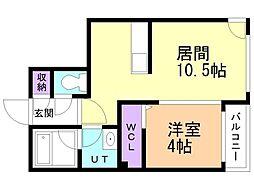 仮)VOYAGE TOYOHIRA 4階1LDKの間取り