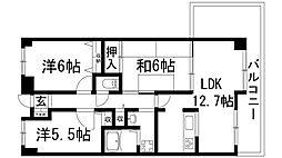 兵庫県伊丹市広畑2丁目の賃貸マンションの間取り