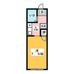 NOAHIII 2階1Kの間取り