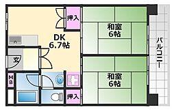中百舌鳥公園4号棟 9階2DKの間取り