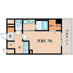 近鉄奈良線 新大宮駅 徒歩3分の賃貸マンション 9階1Kの間取り