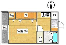 大阪府高槻市松が丘4丁目の賃貸マンションの間取り