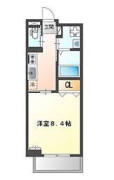 堺市堺区中三国ヶ丘町賃貸マンション新築 2階1Kの間取り